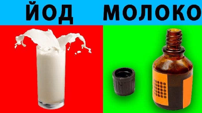 Йод с водой или молоком